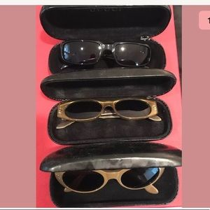 Gucci sunglasses 3 pairs with cases as is